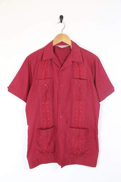 Men's 70s Embroidered Shirt - Red M