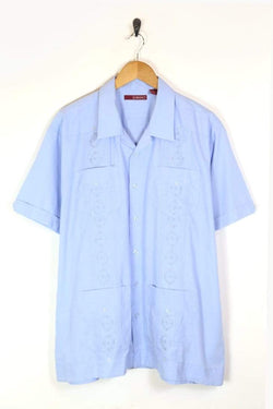 Men's 70s Embroidered Shirt - Blue XXL