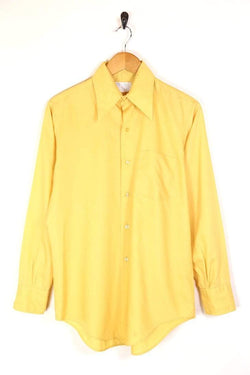 Men's 70s Collar Plain Shirt - Yellow L