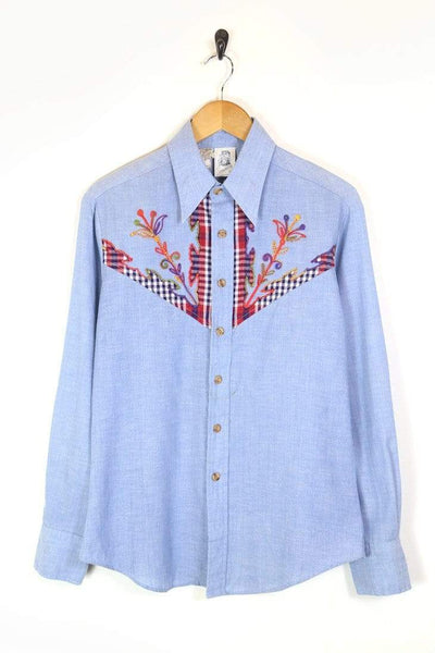 Men's 70s Embroidered Shirt - Blue M