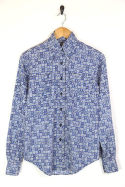 Men's 70s Patterned Shirt - Blue M