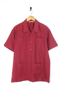Men's 70s Embroidered Shirt - Red XXL