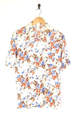 Men's 70s Floral Shirt - White M