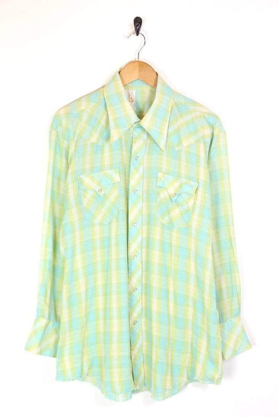Men's 70s Checked Western Shirt - Green XL