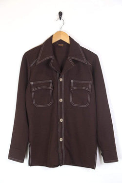 Men's 70s Textured Shirt - Brown M