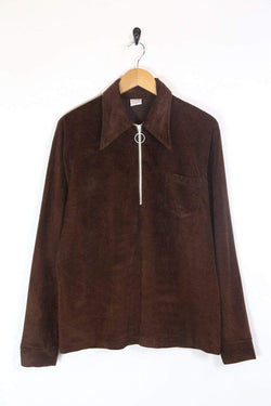 Men's 70s Velour 1/4 Zip Shirt - Brown XL