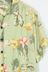 Women's Floral Shirt - Green L