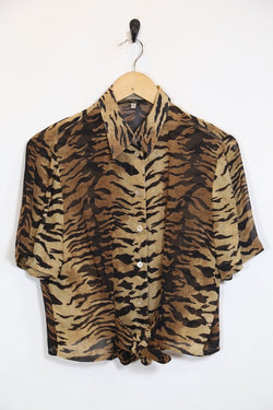 Loot Vintage Shirt S / Brown / Polyester *Women's Tiger Print Shirt - Brown S