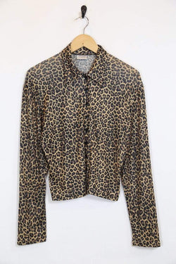 Loot Vintage Shirt S / Brown / Viscose Women's Leopard Print Shirt - Brown S