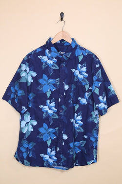 Loot Vintage Shirt Vintage Blue Floral Hawaiian Shirt