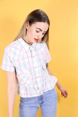 Loot Vintage Shirt Vintage Reworked Checked Frill Shirt