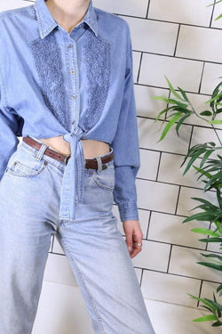 Reworked Embroidered Shirt - Blue M - Loot Vintage