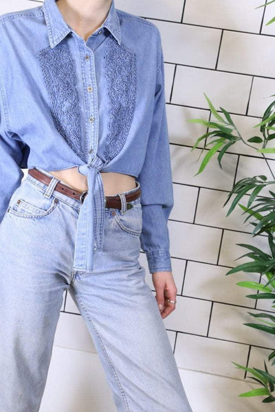 Loot Vintage Shirt Vintage Reworked Embroidered Denim Shirt