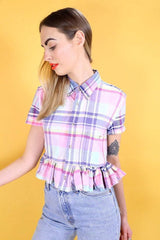 Loot Vintage Shirt Vintage Reworked Picnic Frill Shirt