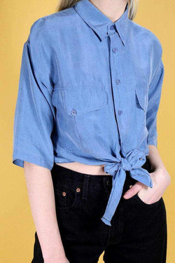 Reworked Tie Silk Shirt - Blue S - Loot Vintage