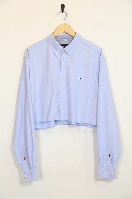 Loot Vintage Shirt XL / Blue / Cotton *Women's Reworked Cropped Shirt - Blue XL