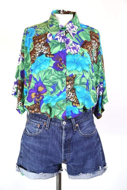 Women's Animal Print Floral Shirt - Multi XL