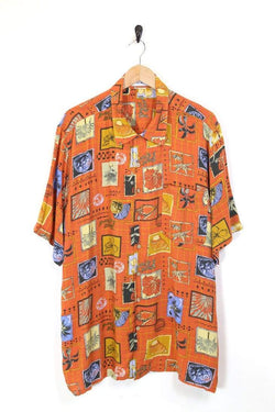 Loot Vintage Shirt XXL / Orange / Rayon Men's Hawaiian Printed Shirt - Orange XXL