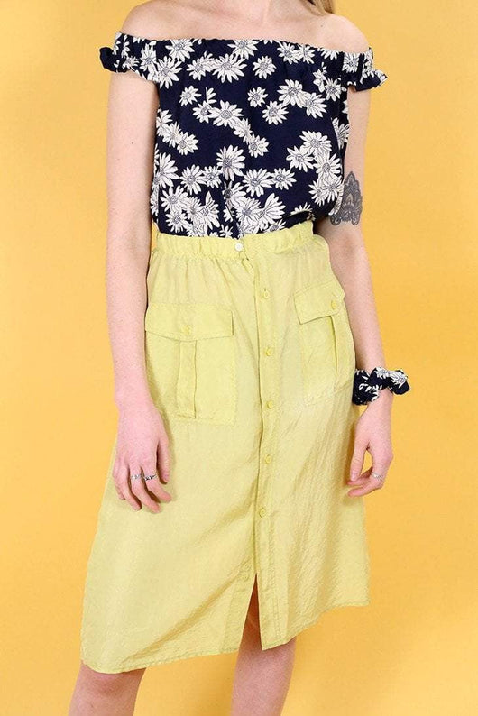 Loot Vintage Skirt 10 / Yellow Vintage Reworked Lemon Silk Skirt
