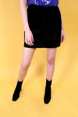 Women's Suede Mini Skirt - Black XS - Loot Vintage