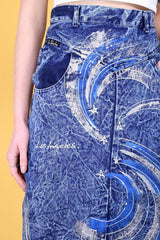 Loot Vintage Skirt 8 / Blue Shooting Star Midi Skirt