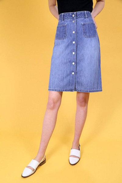 Loot Vintage Skirt 8 / Blue Vintage A-Line Denim Skirt