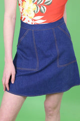 Loot Vintage Skirt 8 / Blue Vintage Reworked Denim Worker Skirt