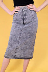 Loot Vintage Skirt 8 / Grey Vintage Grey Stonewash Denim Skirt