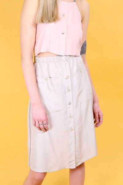 Loot Vintage Skirt 8 / Taupe Vintage Reworked Silk Skirt