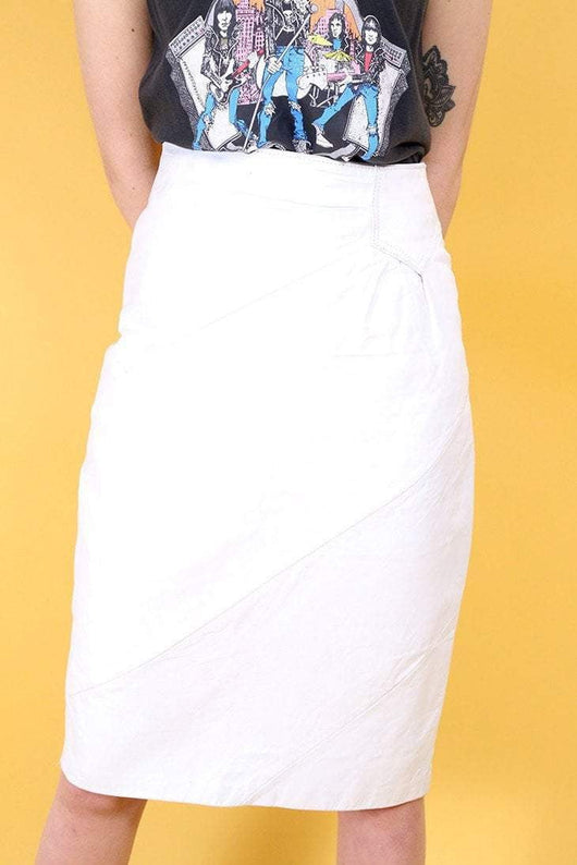 Loot Vintage Skirt 8 / White White Leather Pencil Skirt