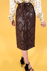 Loot Vintage Skirt Brown 80's Sequin Skirt