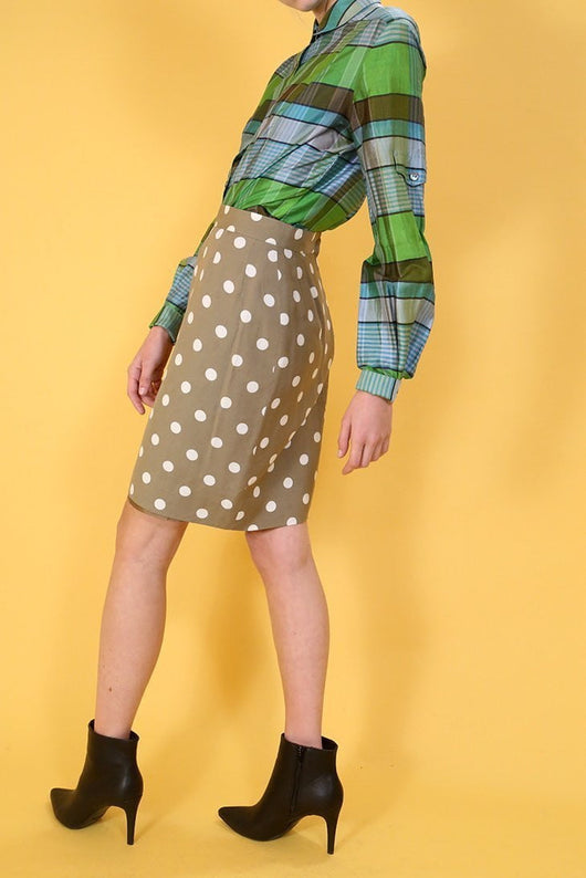 Women's Polka Dot Skirt - Brown XS - Loot Vintage