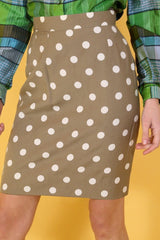Loot Vintage Skirt Coffe Polka Dot Skirt
