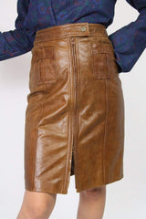 Loot Vintage Skirt Guess Chocolate Brown Zip Up Leather Skirt