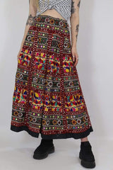 Loot Vintage Skirt M / Red / Cotton Vintage Boho Luxe Maxi Skirt