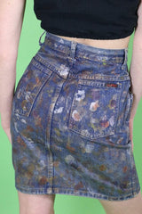 Loot Vintage Skirt Painted Denim Skirt