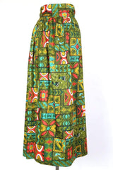 Women's Printed Wrap Maxi Skirt - Green XS