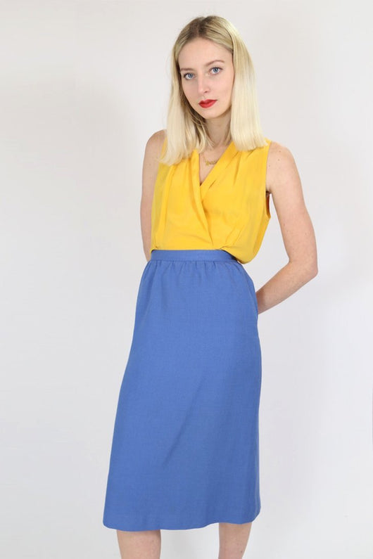 Loot Vintage Skirt Vintage Blue Pencil  Midi Skirt