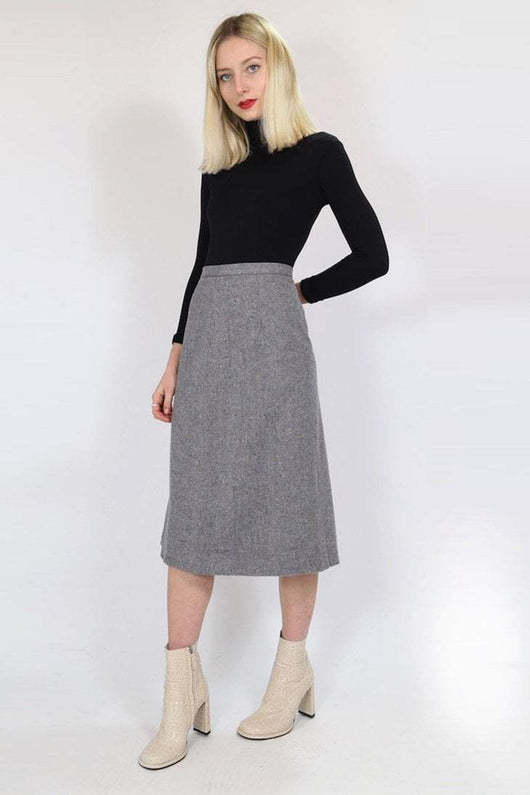 Loot Vintage Skirt Vintage Grey Fleck Wool Skirt
