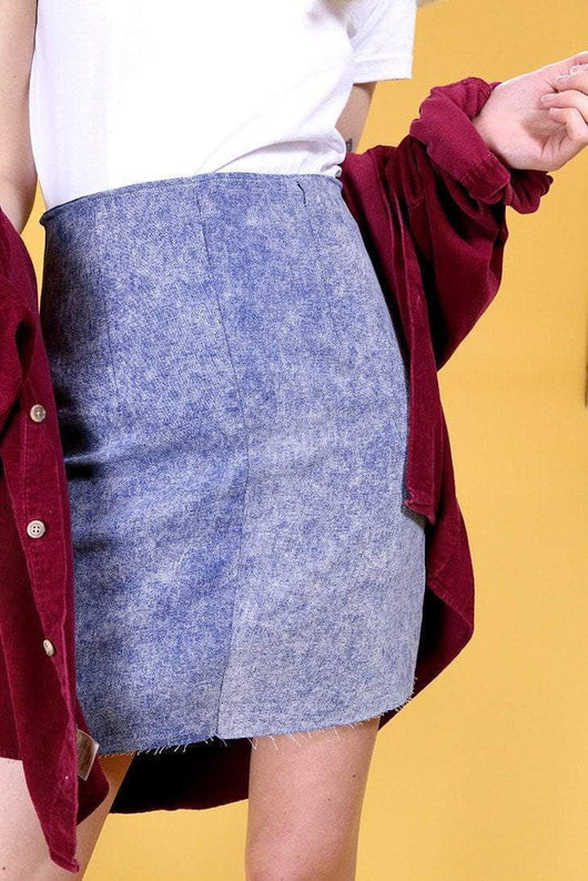 Reworked Acid Wash Pencil Skirt - Blue XS - Loot Vintage