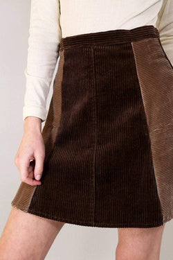 Reworked Corduroy Skirt - Brown XS - Loot Vintage