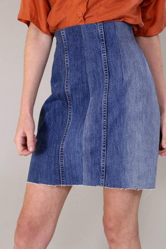 Loot Vintage Skirt Vintage Reworked Straight Denim Skirt