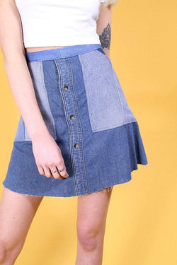 Reworked Double Denim Skirt - Blue XS - Loot Vintage