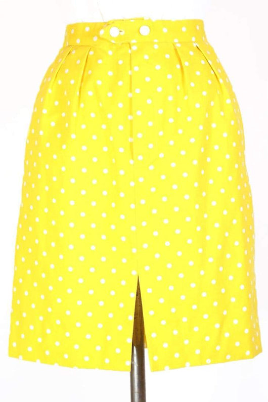 Loot Vintage Skirt XS / Yellow / cotton Women's Polka Dot Mini Skirt - Yellow S