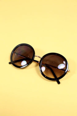 Loot Vintage Sunglasses 6cm / Black Black Round Sunglasses