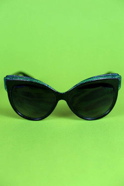 Loot Vintage Sunglasses Back and Blue Glitter Trim Feline Sunglasses