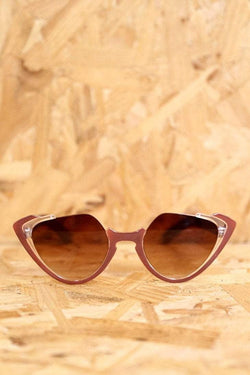 Loot Vintage Sunglasses Brown Open Top Tinted Cat Eye Sunglasses