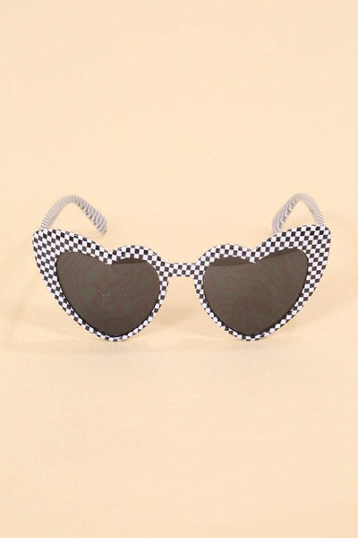 Loot Vintage Sunglasses Checkerboard Heart Sunglasses