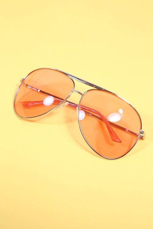 Loot Vintage Sunglasses Pink Lens Aviator Sunglasses