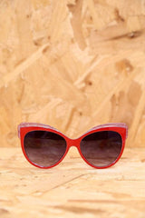 Loot Vintage Sunglasses Red Glitter Feline Sunglasses